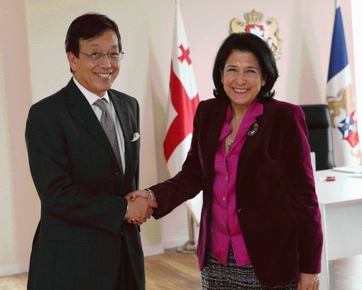 Meeting of Ambassador Uehara with the President of Georgia<br />